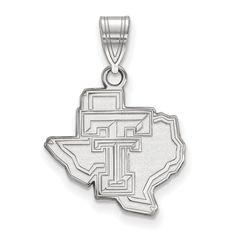 Sterling Silver LogoArt Texas Tech University Medium Pendant