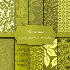 ChartreuseDigital Papers by VanDenBergeDesign on Etsy, $4.00