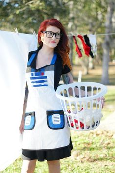 r2d2 inspired cosplay Cooking Apron costume por HauteMessThreads, $85.00