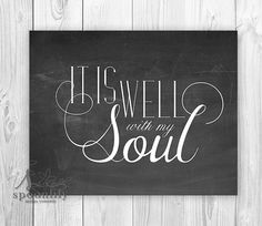 Bible Verse Art print, Scripture wall art decor, Calkboard style, nursery bible verse - It is well with my soul, Home Decor - Wall ART PRINT