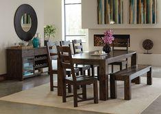 Coaster Calabasas Dark Brown Dining Table Set