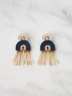 Midnight Blue Two Arch Tassel Earrings by Wolf & Moon