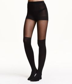 Tights with appearance of over-knee socks. Elasticized waistband. sz L