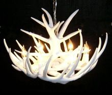 Free Shipping Artistic White Antler Featured Chandelier With 6 Lights Modern Chandelier Pendant Lamp Lights Droplight MYY7325(China (Mainland))