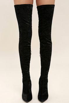 Julia Black Velvet Thigh High Boots