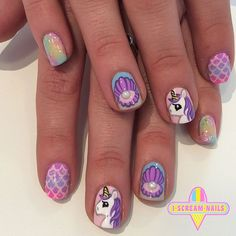 iscreamnails (for my Laci) Really Cute Nails, Cute Nail Art, Gel Nail Art, Pretty Nails, Nails For Kids, Girls Nails, How To Do Nails, Fun Nails, Unicorn Nail Art