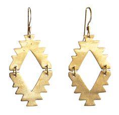 Southwest Brass Earrings Diamond Cut by SolDelSur on Etsy, $60.00