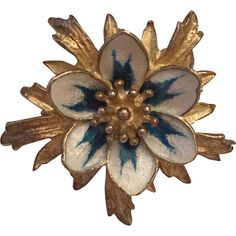 Vintage Norwegian Hroar Prydz Sterling Silver White & Blue Enamel Flower Brooch Norway