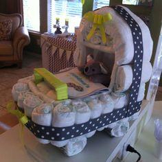 Diaper cake- grey, white and neon yellow #babyshowerdecor