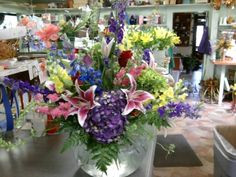 This is the flower arrangement we made for Elton John's dressing room when he was at Freedom Hall.