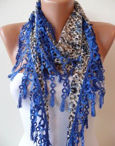Perforated Fabric  Royal Blue Spring Shawl / Scarf  by SwedishShop, $15.90