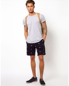 d3962dfd20 Ted Baker | Blue Embroidered Flamingo Shorts for Men #Lyst Flamingo Shorts,  Welt Pocket