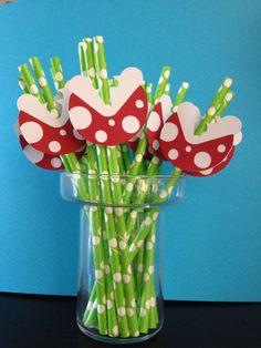 Super Mario Brothers Party- Piranha Plant Paper Straws- Favors