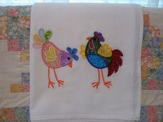 Embroidered Applique Chickens Flour Sack by SugarHillEnterprises
