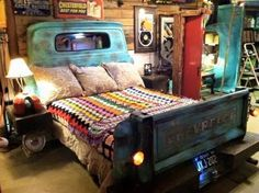 truck parts make up the headboard and footboard for this unique bed — fully equipped with a lit license plate.Repurposed truck parts make up the headboard and footboard for this unique bed — fully equipped with a lit license plate.