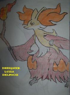 Delphox Pokémon desenho à lápis