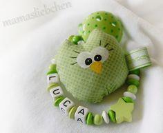 Schnullerkette mit Namen Mini - Eule © Name 10872 von Schnullerkette mit Namen auf DaWanda.com