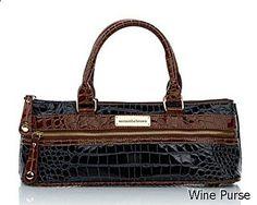 Wine Purse - Samantha Brown Classic Croco Insulated Wine Purse - Black