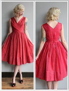 1950s Dress // Red & Gold Sari Formal Dress // by dethrosevintage