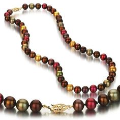 14K Yellow Gold 8-8.5mm Multi Color Chocolate, Pistachio, Cranberry, and Gold Freshwater Pearl Necklace AA+ Quality, 18 Inch Unique Pearl,http://www.amazon.com/dp/B005FQYMUI/ref=cm_sw_r_pi_dp_rpQFtb06X2K1FGAQ