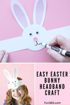 Have your kids make these super simple bunny headbands for Easter! Rachel from I. - Have your kids make these super simple bunny headbands for Easter! Rachel from I Heart Crafty Things - Easter Crafts For Toddlers, Spring Crafts For Kids, Easter Projects, Easter Crafts For Kids, Toddler Crafts, Preschool Crafts, Art For Kids, Children Crafts, Summer Crafts