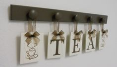 Tea Cup Wall Art for Kitchen Hanging letters Decor by NelsonsGifts