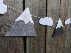 Mountain Garland Wall Decor Mountain and Cloud by FeltWitch