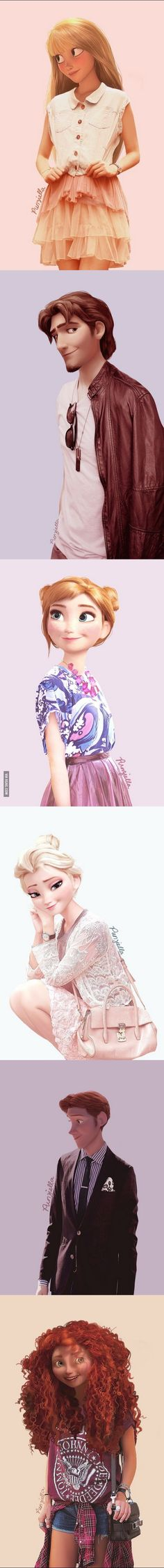 What Disney characters would look like in modern clothing. I am in love with Anna and Elsa!