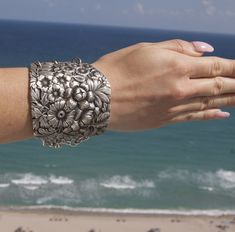 Sterling Silver Art Nouveau Floral Armlet Cuff by CelebLuxe