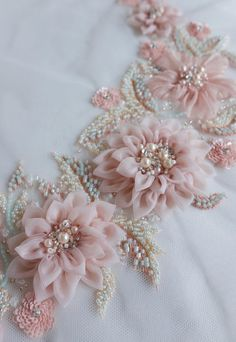 Silk Ribbon Embroidery Flowers Applique in beautiful blush with hand-crafted silk organza flowers - Ribbon Embroidery Tutorial, Silk Ribbon Embroidery, Hand Embroidery Designs, Embroidery Patterns, Embroidery Supplies, Embroidery Thread, Embroidery Applique, Pearl Embroidery, Brother Embroidery