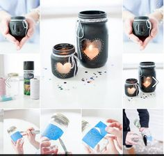 Diy mason jar candle holder on We Heart It Homemade Candle Holders, Mason Jar Candle Holders, Homemade Candles, Mason Jar Candles, Mason Jar Crafts, Homemade Gifts, Pots Mason, Cute Candles, Diy Candles