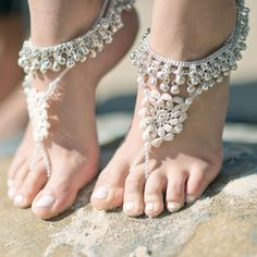 Bohemian beach bridal sandals. Made with crochet lace and Indian wedding anklets.  Available for sale now: www.foreversoles.com Photo by: Jade Coral Photography