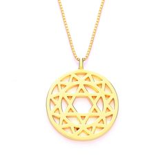 24ct Gold Plated Anahata Heart Chakra Pendant