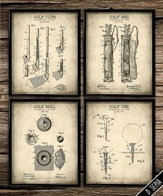 High Quality Vintage Patent Golf Set Antique Patent Poster By PrintShopCanada · Man Office  DecorVintage ...