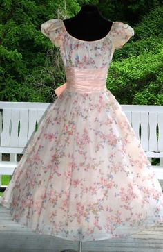 Vintage 1950s 50s Pink Floral Chiffon with Tulle & Taffeta Prom Garden Party Gown Dress