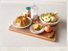 Cinnamon Apple Cake Preparation Board - Dollhouse Miniature Food 1:12 Scale