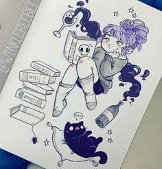 Inktober Day 10 Chill Today is Some of you know how I struggle with anxiety and depression and such an important part of mental health is just taking care of yourself ev. Kawaii Drawings, Art Drawings Sketches, Cartoon Drawings, Cute Drawings, Cute Art Styles, Cartoon Art Styles, Character Drawing, Character Design, Arte Sketchbook
