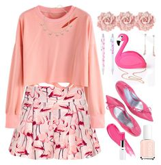 """Pink Flamingo"" by grozdana-v ❤ liked on Polyvore featuring Lulu Hun, RED Valentino and Humble Chic"