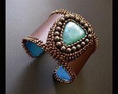 Brown and Turquoise Bead Embroidered Leather Beaded Cuff