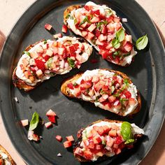 Strawberry & Ricotta Bruschetta Recipe - Rachael Ray Every Day Bread Appetizers, Appetizer Recipes, Party Appetizers, Dessert Recipes, Desserts, Bruchetta Recipe, Gourmet Recipes, Healthy Recipes, Vegetarian Recipes