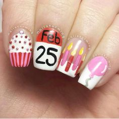Birthday nail art design