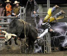 Pbr Bull Riding | Bull Rider competitor Levi Schmucker falls off of Glory Day.