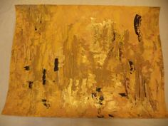 Rafael Solis Mexican Artist Modern Contemporary Monochromatic Large Yellow Abstract Watercolor Acrylic Paper Original Painting Wall Hanging