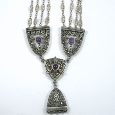 Three Strand Vintage Silver Necklace with Marcascites & Cabochon Purple Stones. $350
