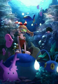 Alola May Taking a Swim in Hoenn Waters! Pokemon Mew, Pokemon Fan Art, Pokemon Waifu, Type Pokemon, Pokemon Pins, Pokemon Images, Pokemon Pictures, Pikachu, Fanart