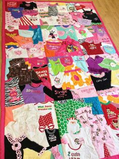 Baby clothes blanket.  Fun Idea!