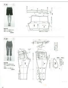 pants Sewing Shorts, Sewing Clothes, Diy Clothing, Clothing Patterns, Japanese Sewing Patterns, Skirt Leggings, Pattern Drafting, Pants Pattern, Pattern Making