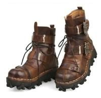 Mens Lace Up Punk Rock Leather Buckle Gothic Motor Biker Deser Combat Boot Shoes