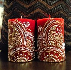 Red Henna Candles w gold and white  by HennaByManpreet on Etsy