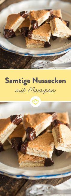 Mit samtigem Marzipan und zartschmelzendem Crème Fraîche werden die sonst so kernigen Ecken ganz weich und herrlich zart.